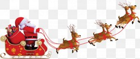 Christmas Promotion - Santa Claus Reindeer Sled Stock Photography Clip Art PNG