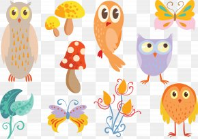 Magic Forest Mushroom Insects - Owl Euclidean Vector Insect Clip Art PNG