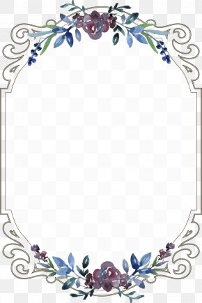 Vintage Floral Border - Wedding Invitation Menu Template PNG