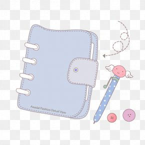 Cartoon Blue-gray Notebook And Pen - Laptop Notebook Pen PNG