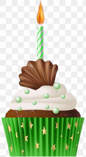 Birthday Muffin Green With Candle Clip Art - Birthday Cake Candle Clip Art PNG