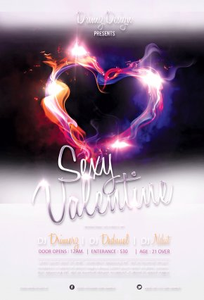 Flame Of Love Valentine's Day Poster PSD - Flame Heart Light Download Poster PNG