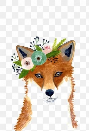 Plant Fox - Watercolor Painting Fox Art Drawing PNG