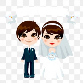 Creative Cartoon Wedding Couple Marriage - Couple Stock Illustration Clip Art PNG