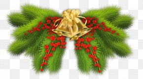 Christmas Pine Branch With Gold Bells Decor - Pine Branch Christmas Tree Christmas Decoration PNG