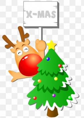 Christmas Tree - Christmas Tree Reindeer Santa Claus PNG