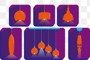Vector Orange Chandelier - Lighting Euclidean Vector PNG