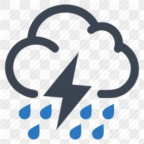 Vector Thunderstorm Icon - Thunderstorm Cloud Rain PNG