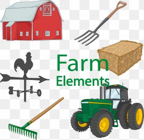 Vector Hand-drawn Hay Farm Tractor - Farm Agriculture Tractor PNG