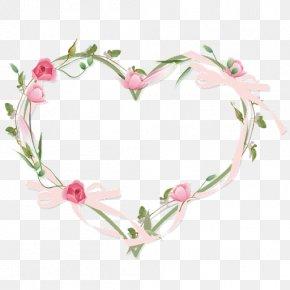 Watercolor Flower Border - Picture Frames Heart Flower Clip Art PNG