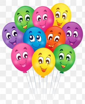 Balloons With Faces Cartoon Clipart Picture - Birthday Wish Greeting Card Clip Art PNG