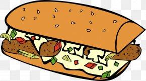 Sub Cliparts - Hot Dog Hamburger Submarine Sandwich Breakfast Sandwich Fast Food PNG