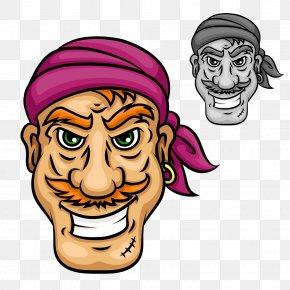 Cartoon Pirate Man - Moustache Sailor Piracy Beard PNG