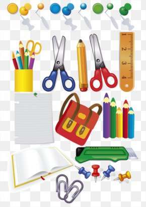 Cartoon Painted Scissors Pencil Ruler School Supplies - Stationery Pencil Scissors PNG