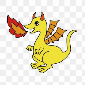 Yellow Fire-breathing Dragon Cartoon - Cartoon Clip Art PNG