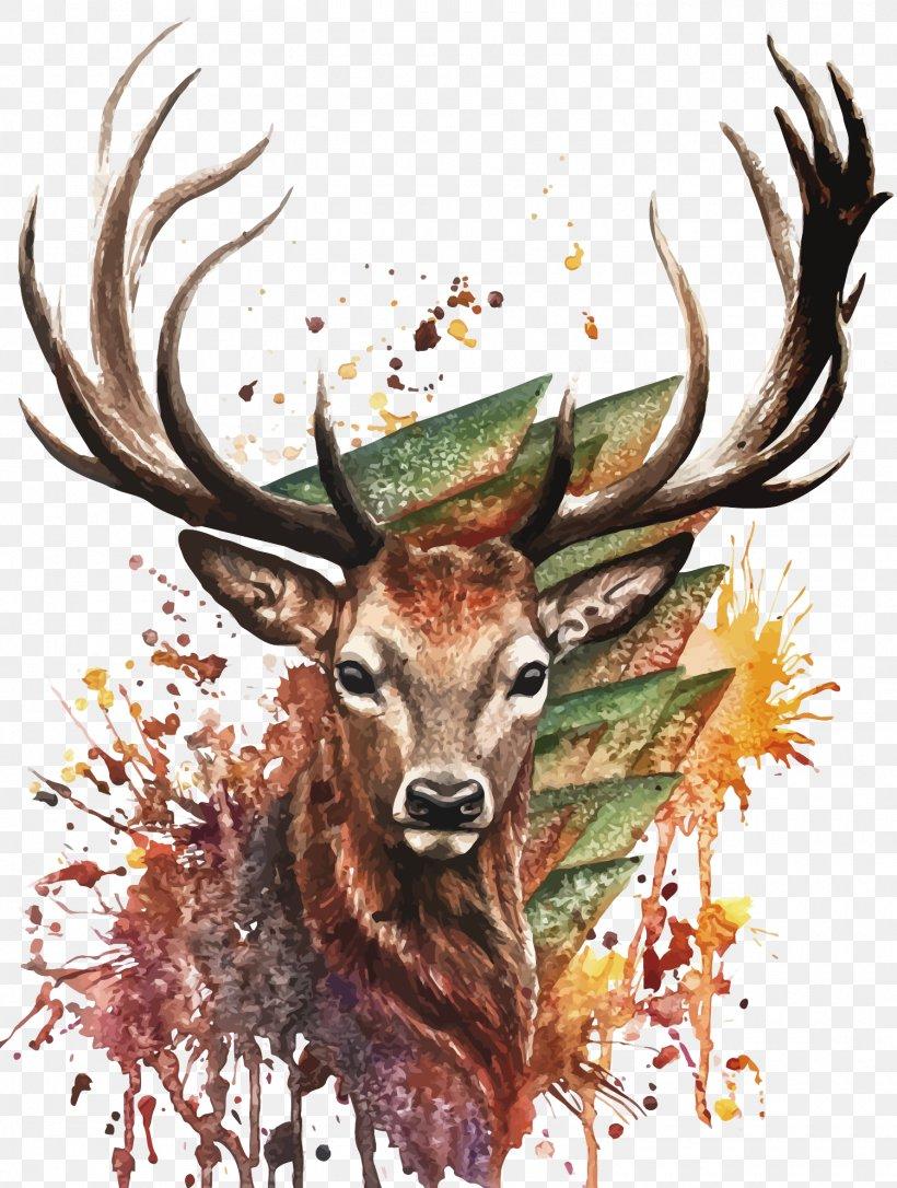 Watercolor Deer Painting, PNG, 1500x1987px, Deer, Antler, Art, Deviantart, Drawing Download Free