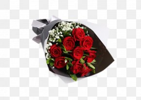 9 Red Roses Bouquet Of Flowers - Garden Roses Beach Rose Gypsophila Paniculata Red Flower PNG