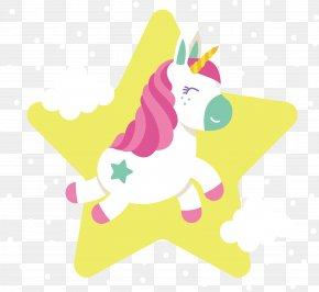 Yellow Star Unicorn - Unicorn White Euclidean Vector PNG