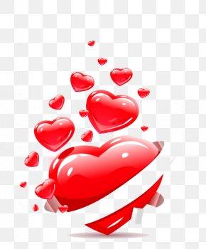 Red 3d Love - Heart Euclidean Vector Ribbon Clip Art PNG
