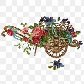 Cart And Flower Decoration PNG