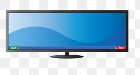 Blue Widescreen TV - LED-backlit LCD LCD Television Television Set Computer Monitor Multimedia PNG
