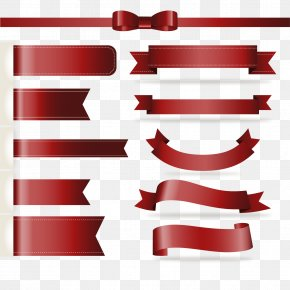 Shading Border Ribbon Design - Paper Red Ribbon PNG