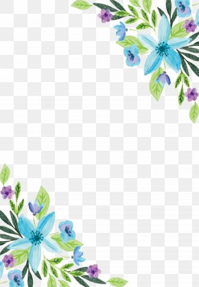 Water Color Blue Flower Border - Watercolor Painting Flower Floral Design PNG
