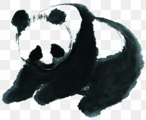 Giant Panda - Giant Panda Puppy Ink Wash Painting Chinese Painting PNG