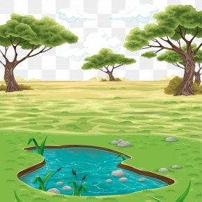 Vector Colored Pond Landscape Background - Landscape Drawing Clip Art PNG
