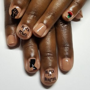 Nails - Nail Art Black Day Without A Woman Manicure PNG