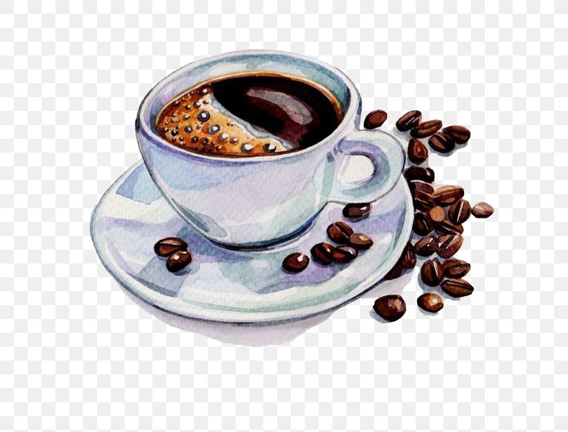 Coffee Tea Cafe Watercolor Painting Drawing, PNG, 658x623px, Coffee, Black Drink, Brewed Coffee, Cafe, Caffeine Download Free