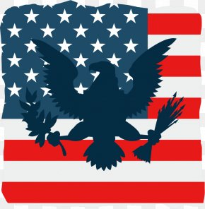 Vector American Flag And Eagle PNG