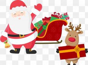 Santa Claus Sleigh With Elk - Rudolph Santa Claus's Reindeer Christmas Santa Claus's Reindeer PNG