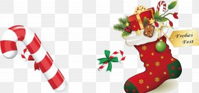 Christmas Gift Red Socks Stick Sugar Pattern - Santa Claus Christmas Decoration Christmas Stocking Clip Art PNG