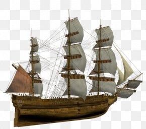 Ancient Sailing - Brigantine Sailing Ship Clipper Ship Of The Line Galleon PNG