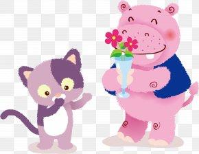 Vector Cute Hippo And Kittens - Cat Kitten Hippopotamus Cuteness Clip Art PNG