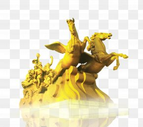 Golden Pegasus Sculpture - Horse Sculpture PNG