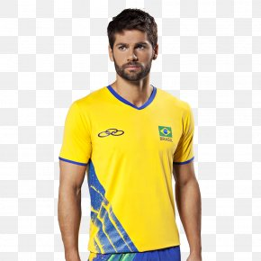 T-shirt - Brazil Men's National Volleyball Team T-shirt Volleyball At The 2016 Summer Olympics – Men's Tournament Yellow PNG