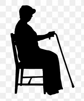 Crutches Old Lady Sitting On A Chair PNG