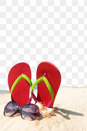 Summer Beach Poster Background - Slipper Summer Beach Sand Wallpaper PNG