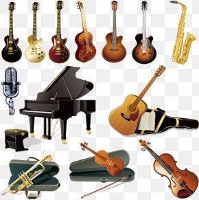 Musical Instruments Vector Elements - Musical Instruments Guitar Orchestra PNG