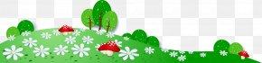 Vector Green Meadow Mushrooms PNG