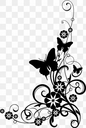 Butterfly Pictures Black And White - Flower Black And White Clip Art PNG