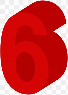 Number Six Red Clip Art Image - Red Circle Design Clip Art PNG