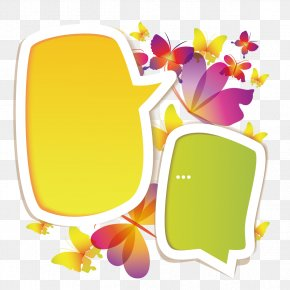 Butterfly Tags - Dialog Box Speech Balloon Dialogue PNG