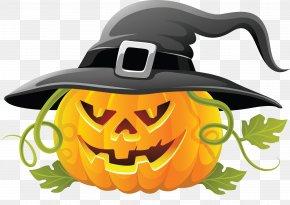 Large Transparent Halloween Pumpkin With Witch Hat Clipart - Halloween Jack-o'-lantern Pumpkin Clip Art PNG