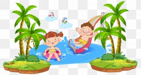 Water Playing Kids - Child Cartoon Illustration PNG