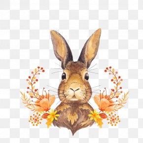 Bunny Rosette - Autumn Leaf Color Watercolor Painting Paper PNG