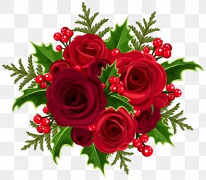 Red Rose Decorative - Christmas Rose Flower Bouquet Clip Art PNG