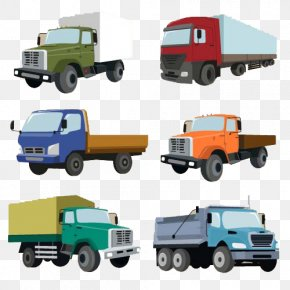 Cartoon Hand Colored Truck - Car Van Commercial Vehicle Truck PNG